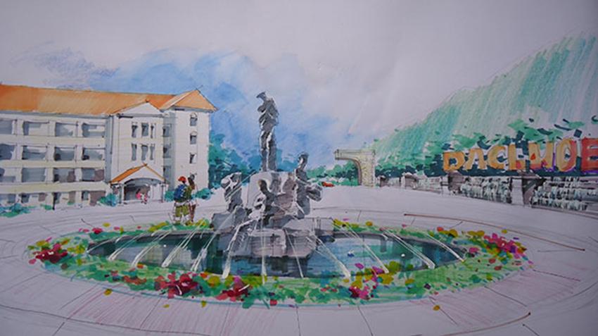 小广场入口3d基础效果图